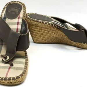 Authentic Burberry Espadrille Thong Wedge Size 11